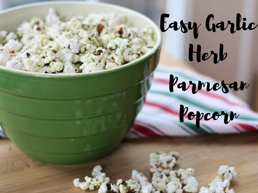 Easy Garlic Herb Parmesan Popcorn Hero