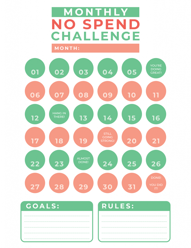 No Spend Challenge #1-01