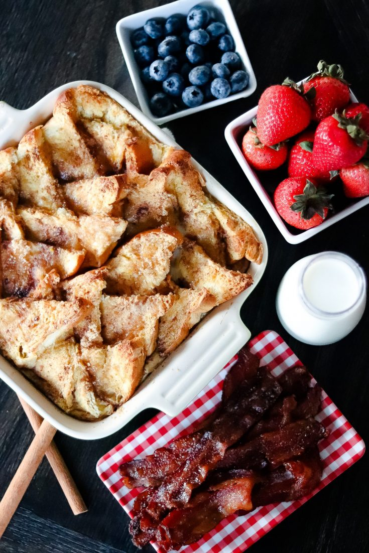 Baked  French Toast Casserole & Maple Bacon